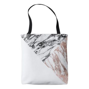Black White Rose Gold Marble Geometric Triangles Tote Bag