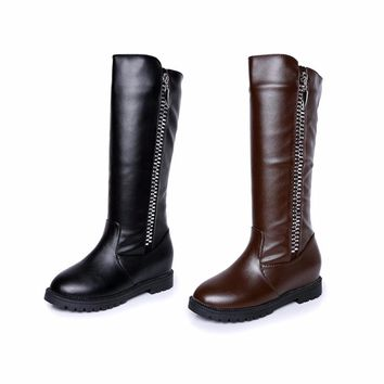 Luxury Women Mid-Calf Boots With Waterproof Design Female Leather Boots For Girl Teenager Women Fashion Shoes Hot