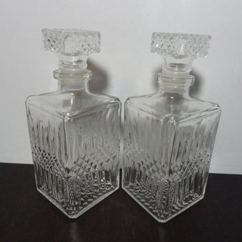 Vintage Clear Cut Glass Matching Liquor or Wine Decanters with Diamond Pattern - Set of 2 - Mid Century Modern Barware - Mad Men Style