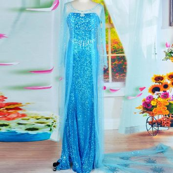 adult elsa costume women princess elsa dress cosplay halloween costumes for women snow queen cosplay Party Formal Dress