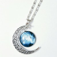 Blue Galaxy Moon Necklace Pendant Celestial