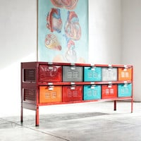 5 x 2 Reclaimed Locker Basket Unit with Red Frame and Multicolored Drawers