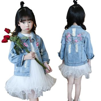 Trendy Kids Denim Jackets For Girls Clothing Children Embroidered Coats Casual Ripped Jeans Coats Spring Autumn Girls Outerwear 2 8 12 AT_94_13