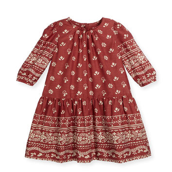 Tais Bandana-Print Poplin Dress, Peony Rose, Size 4-14,