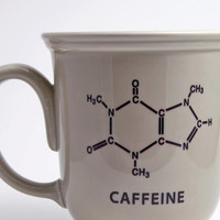 Beige Mug with Caffeine Molecule Chemistry Decal