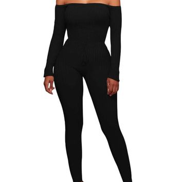 A| Chicloth Women Off the Shoulder Knitted Jumpsuit Long Sleeve Drawstring Waist Bodycon Rompers