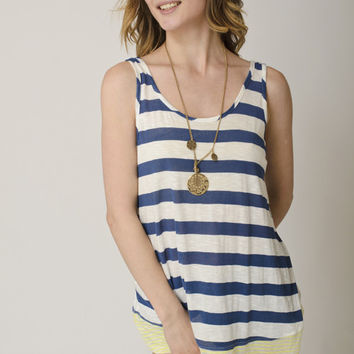 Stripe Contrast Tank- Yellow