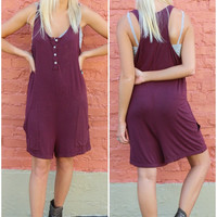 Lonely Hearts Light Acid Wash Burgundy Sleeveless Henley Romper With Front Pockets