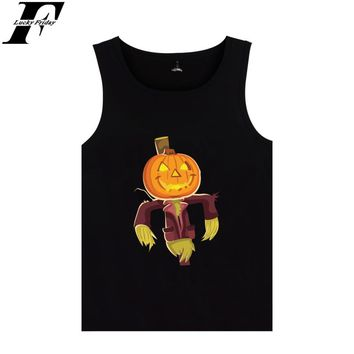 Halloween Vest Summer Sleeveless T-shirt Cool Cotton Funny Print Tank Top Unisex Casual Girls Vest Plus Tees