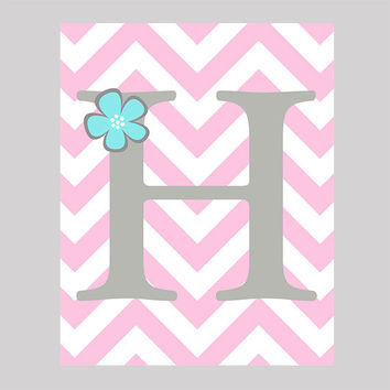 Instant Download Gray Monogram Letter  with Aqua Flower Print CUSTOM COLORS digital nursery decor art baby room print digital download 8x10