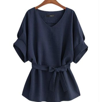 Women's V-Neck Navy Blue Soft Linen Short Sleeve Blouse with Tie PLUS SIZE AVAILABLE