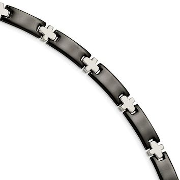 Men's Stainless Steel and Black Plated Cross Link Bracelet, 8.25 Inch