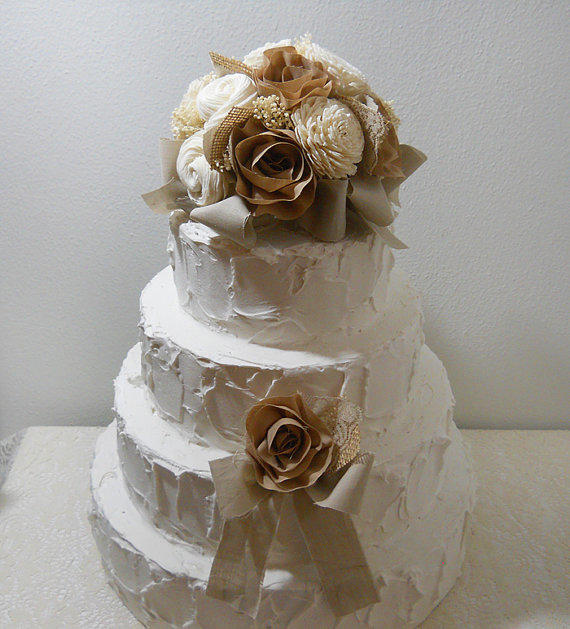 Rustic Shabby Chic Cake Topper, Sola From PapernLace On Etsy