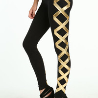 GOLD CRISS-CROSS LEGGINGS