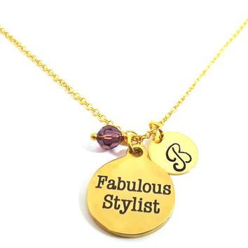 Fabulous Stylist - Personalized Initial Hand Stamped Gold Necklace