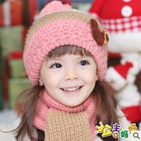 Christmas children Winter Knit Cap scarf warm color teddy bear hat = 1958012804
