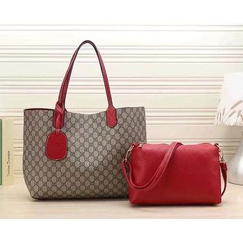 Perfect Gucci Women Leather Multicolor Tote Handbag Shoulder Bag Set Two Piece