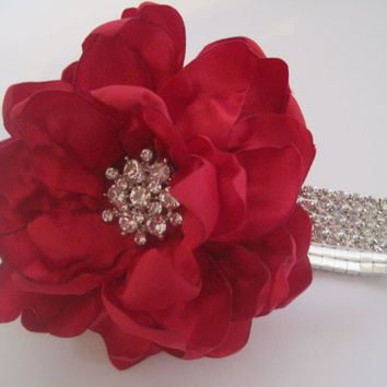 Red Satin Rhinestone Wrist Corsage Bracelet Bride Bridesmaid Mother of the Bride Prom with Rhinestone Accent. Custom Order