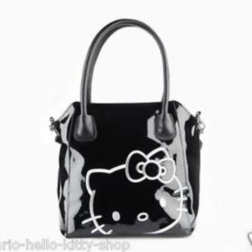 NEW AUTHENTIC SANRIO HELLO KITTY BLACK SHOULDER HANDBAG BAG PURSE chic travel