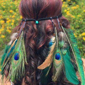 Peacock Feather Headband #B1057