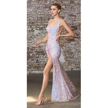 Fitted 3D Iridescent Sequin Gown Opal Lilac Illusion Cut Outs Open Back