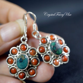 Turquoise Earrings - Antique Turquoise Coral Sterling Silver Earrings - Antique Earrings - Coral Earrings  Indian