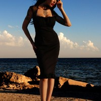 Micheline Dress in Black with Black Chiffon