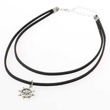 Black Faux Suede Rudder Pendant Choker Necklace