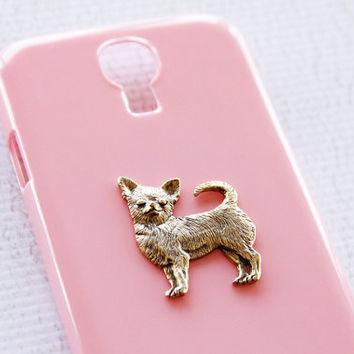 Chihuahua Glossy S4 Samsung Gold and Pink Chic Hardshell Plastic Cover iPhone 6 Case