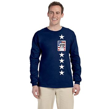 USA American Flag with Shih Tzu Long Sleeve Blue Unisex Tshirt Adult Small