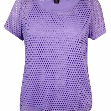 Style & Co. Women's Open Knit Mesh Overlay Top