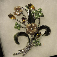 Beautiful Estate Enamel Silver Green Flower Brooch Pin Enhanced with White & Yellow Gold Rhinestones