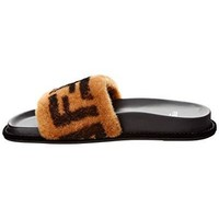 Fendi Ff Leather & Fur Slide Sandal, 37.5, Black