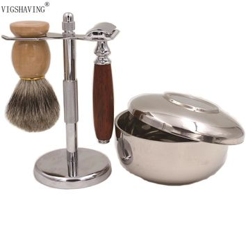 Best Pure badger hair with wood handle safety Razor Kit