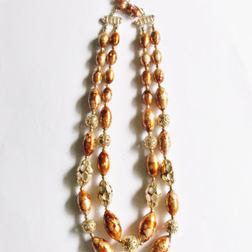 Vintage Necklace Hong Kong Topaz Amber Gold Beads 2 Strand Wedding Jewellry Jewelry Bridal Party Bride Gift for Her Special Occasion