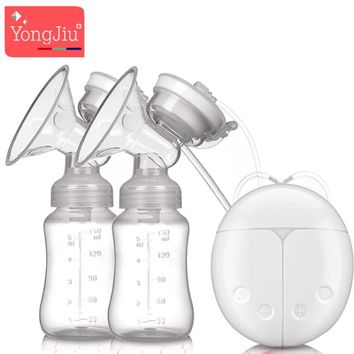 YONG JIU USB Double Electric breast pumps Powerful Silicone Nipple Big Suction milk Pump with baby bottle Nipple Pad BPA Free