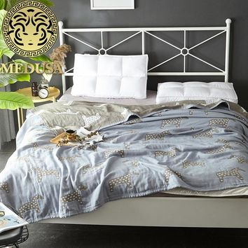 Medusa 2018 knitted washing cotton trojin throw blanket single double gray camel