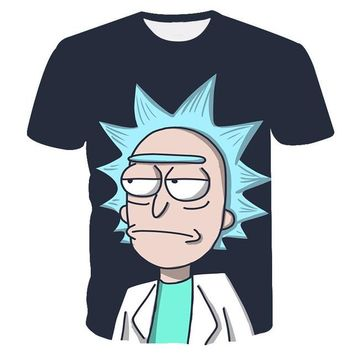 Anime T-shirt graphics Cool Rick Morty men t shirt 2018 Summer Anime T-shirts rick and morty worlds folk black White Fitness Cartoon tee shirt homme AT_56_4