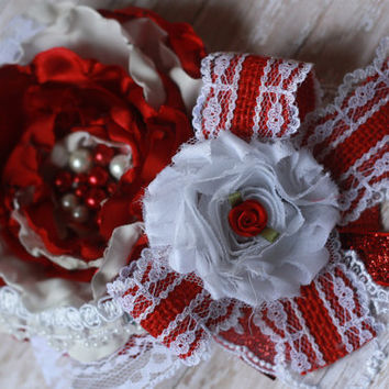 VALENTINE HEADBAND, baby headband, red, white, shabby, over the top, burlap, girl, couture, lace, silk, rose, matilda jane, m2m, wdw, photo