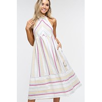 Summer Striped Cotton Midi Dress - Ivory and Pink