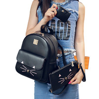 Cat Pattern Academy Backpack in PU