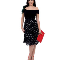 1950s Style Black & White Polka Dot High Waisted Swing Skirt