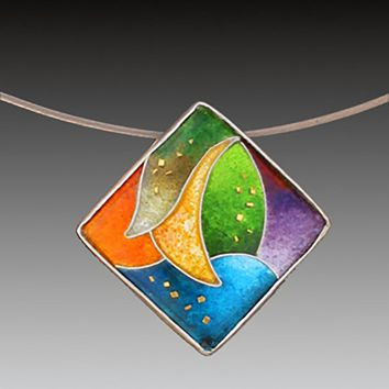 All NEW Offset Square Cloisonne Pendant