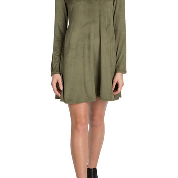 Imara Olive Suede Dress-FINAL SALE
