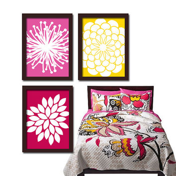 Pink Yellow Flower Burst Daisies Petals Artwork Set of 3 Trio Prints Wall Decor Abstract Art Picture Bedroom Bathroom