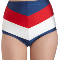 Fables by Barrie Nautical High Waist Sailorette at Sea Swimsuit Bottom in Red Blue