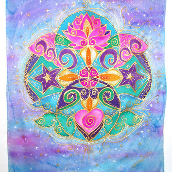 "mandala art, ""Joyful Heart"", meditation art, visionary art, spiritual art, heart chakra, lotus art, metaphysical, new age, goddess"