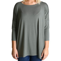 Olive Piko 3/4 Sleeve Top