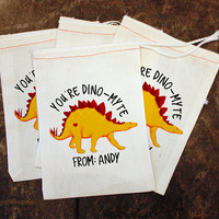 Valentine's Day Favor Bag - Dinosaur Valentine Party / Candy Bags / Kids School Card Replacement / Dino-Myte Treat Bag / Toddler Muslin 5x7