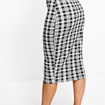 Ava Monochrome Check Midi Skirt